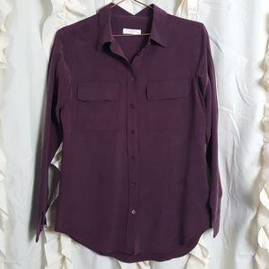 Equipment Femme silk button up shirt eggplant flaw